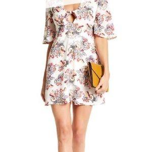 Love, Fire White Pattern Mini Dress